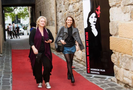 Jennifer Lynch and Penny Vozniak arriving on the red carpet. Image by Kristy Dowsing.